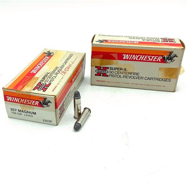 Winchester Super X 357 Mag 158 Grain Lead Ammunition, 100 Rounds