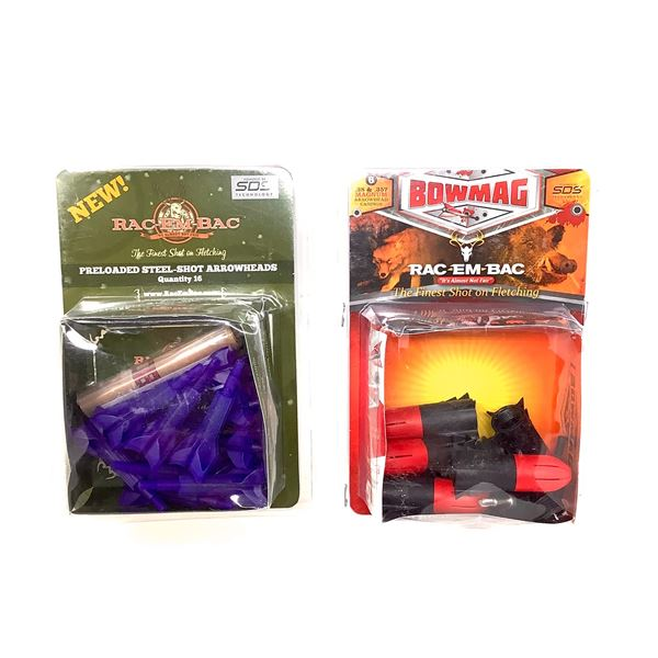 Rac-Em-Bac Preloaded Steel Shot Arrowheads and Bowmag 38 and 357 Mag Arrowhead Casings, New