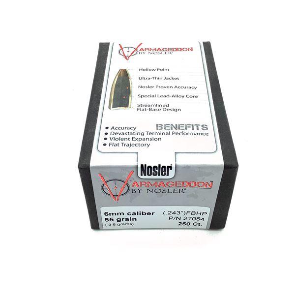 Nosler Varmageddon 6mm Caliber Projectiles, FBHP, 55 gr, 250 Count, New