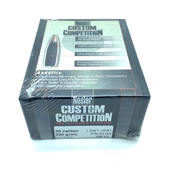 Nosler Custom Competition 30 Caliber Projectiles, HPBT, 220 gr, 100 Count, New