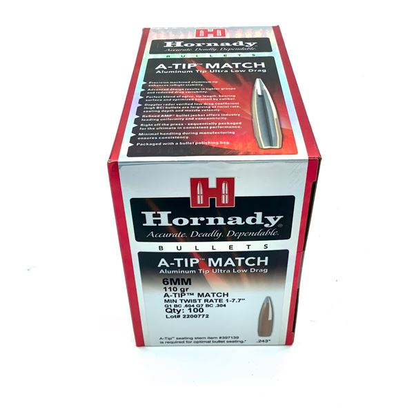 Hornady A-Tip Match 6mm Projectiles, 110 gr, 100 Count, New