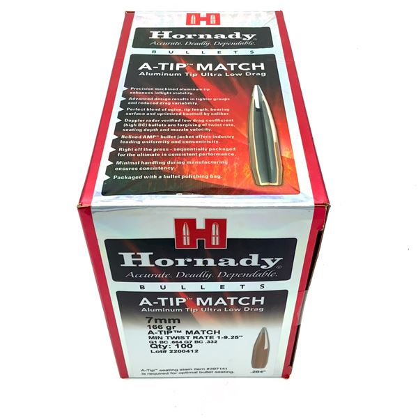 Hornady A-Tip Match 7mm Projectiles, 166 Gr, 100 Count, New