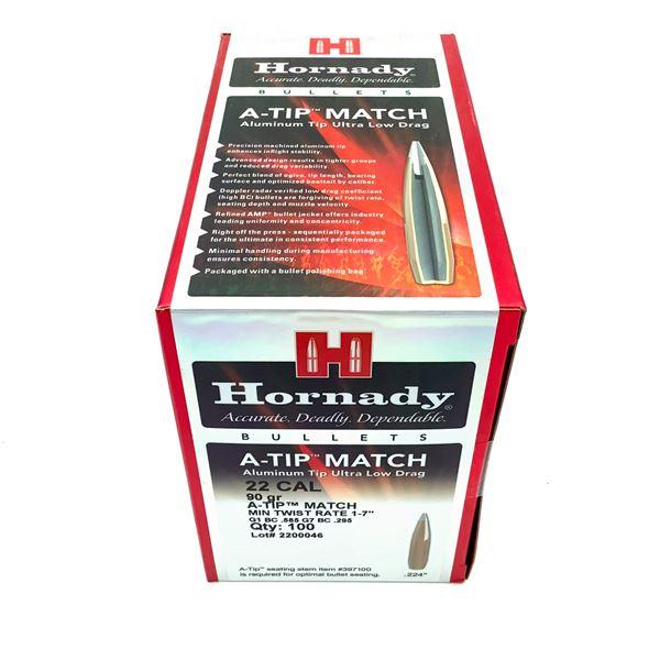 Hornady A-Tip Match 22 Caliber Projectiles, 90 Gr, 100 Count, New