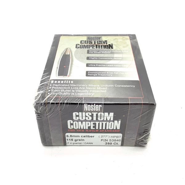 Nosler Custom Competition 6.8 mm Projectiles, HPBT, 115 gr, 250 Count, New