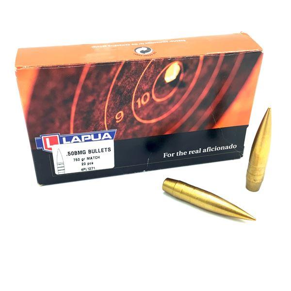 Lapua 50 BMG Projectiles, 750 gr Match, 20 Count, New