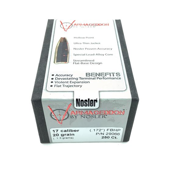 Nosler Varmageddon 17 Caliber Projectiles, FBHP, 20 gr, 250 Count, New