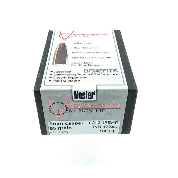 Nosler Varmageddon 6mm Caliber Projectiles, FBHP, 55 gr, 100 Count, New