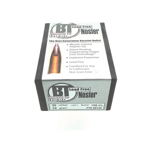 Nosler Ballistic Tip Lead Free 20 Caliber Projectiles, Spitzer, 32 gr, 100 Count, New