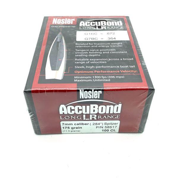 Nosler AccuBond Long Range 7mm Caliber Projectiles, Spitzer, 175 gr, 100 Count, New