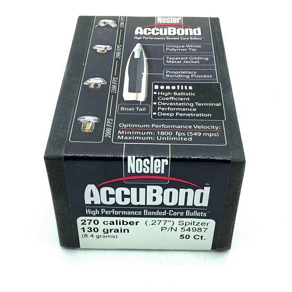 Nosler AccuBond 270 Caliber Projectiles, Spitzer, 130 gr, 50 Count, New