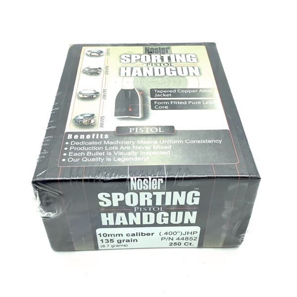 Nosler Sporting Handgun 10mm Caliber Projectiles, JHP, 135 gr, 250 Count, New