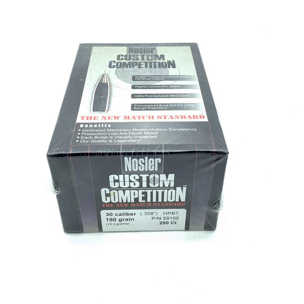 Nosler Custom Competition 30 Caliber Projectiles, HPBT, 190 gr, 250 Count, New