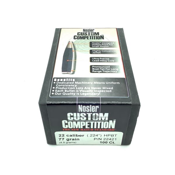 Nosler Custom Competition 22 Caliber Projectiles, HPBT, 77 gr, 100 Count, New