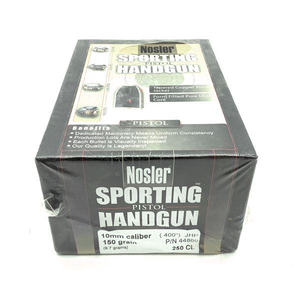 Nosler Sporting Handgun 10mm Caliber Projectiles, JHP, 150 gr, 250 Count, New