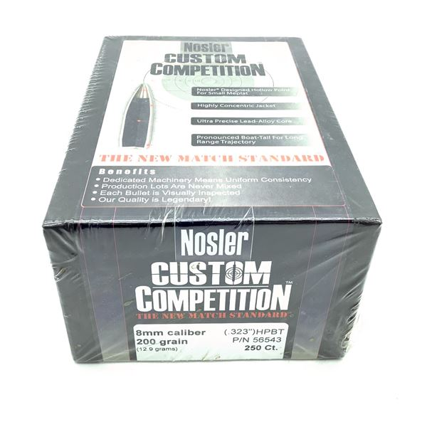 Nosler Custom Competition 8mm Caliber Projectiles, HPBT, 200 gr, 250 Count, New
