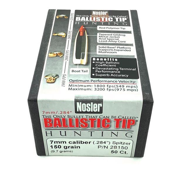 Nosler Ballistic Tip Hunting 7mm Caliber Projectiles, Spitzer, 150 gr, 50 Count, New