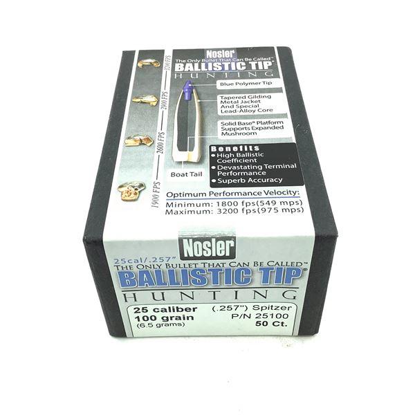 Nosler Ballistic Tip Hunting 25 Caliber Projectiles, Spitzer, 100 gr, 50 Count, New