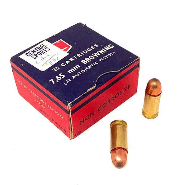 Lapua 7.65 mm Browning 32 Auto Ammunition, 25 Rounds