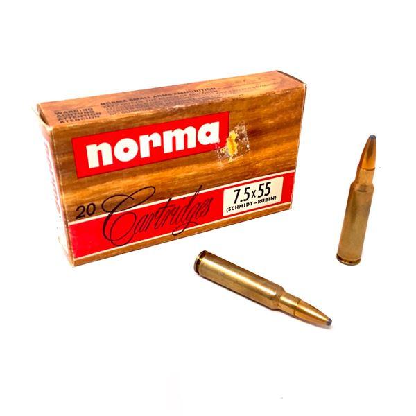 Norma 7.5 X 55 Schmidt Rubin 180 Grain SP Ammunition, 20 Rounds