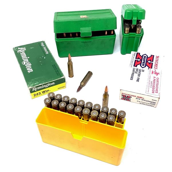 Assorted 243 Win Ammunition, Approx 95 Rounds and 3 MTM Casegard Shellholders