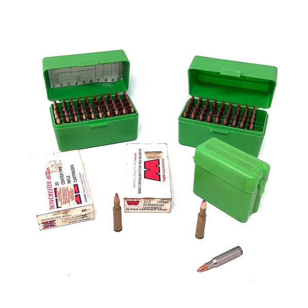 Assorted 222 Rem Ammunition, Approx 136 Rounds, 14 Cases and 2 MTM Casegard Shellholders