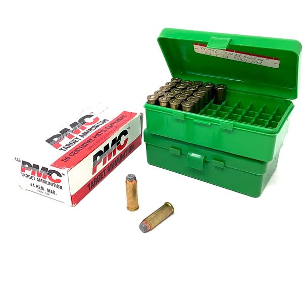 44 Rem Mag Ammunition, Approx 90 Rounds and MTM Casegard Shellholders X 2