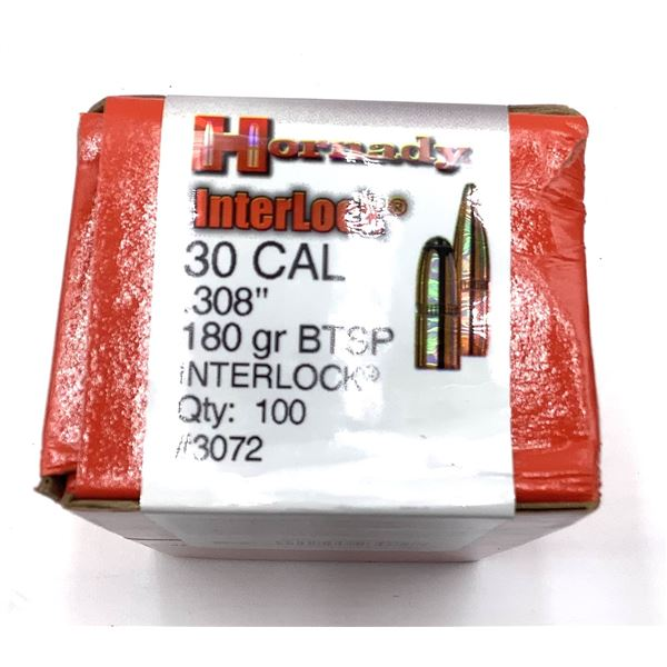 Hornady 30 Cal Projectiles, 180 Gr BTSP Match - 100 Projectiles, New