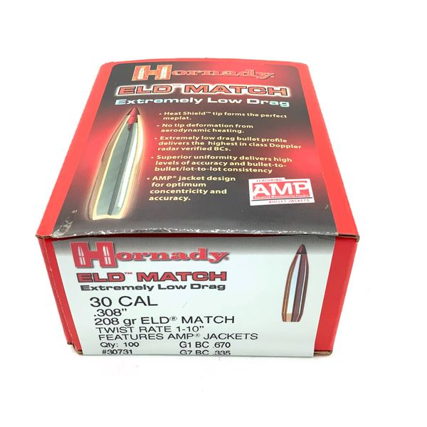 Hornady 30 Caliber Projectiles, ELD Match 208 gr, Approx. 85 Count