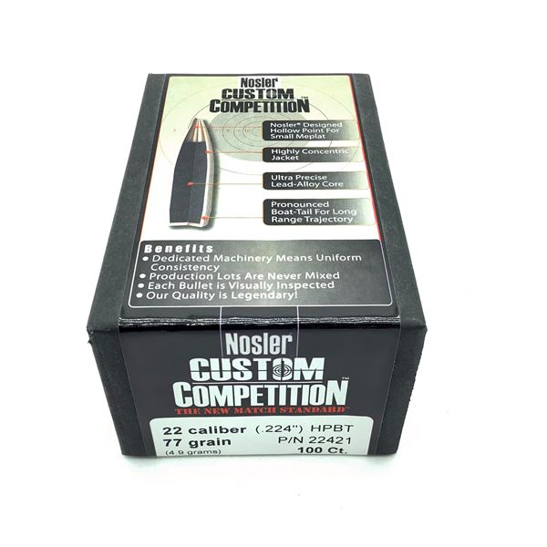 Nosler Custom Competition 22 Caliber Projectiles, HPBT 77 gr, 100 Count, New