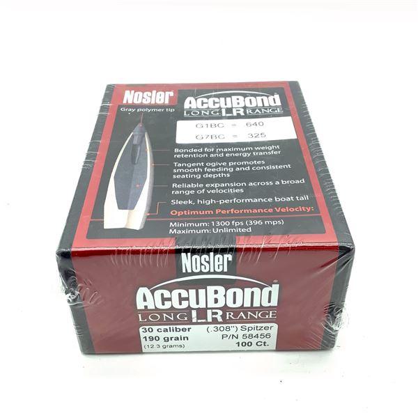 Nosler AccuBond 30 Caliber Projectiles, Spitzer 190 gr, 100 Count, New