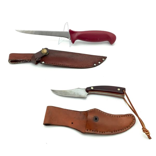 """Schrade Old Timer 3 1/2"""" Fixed Full Tang Knife w Sheath and Imperial 6"""" Fillet Knife w Sheath"""