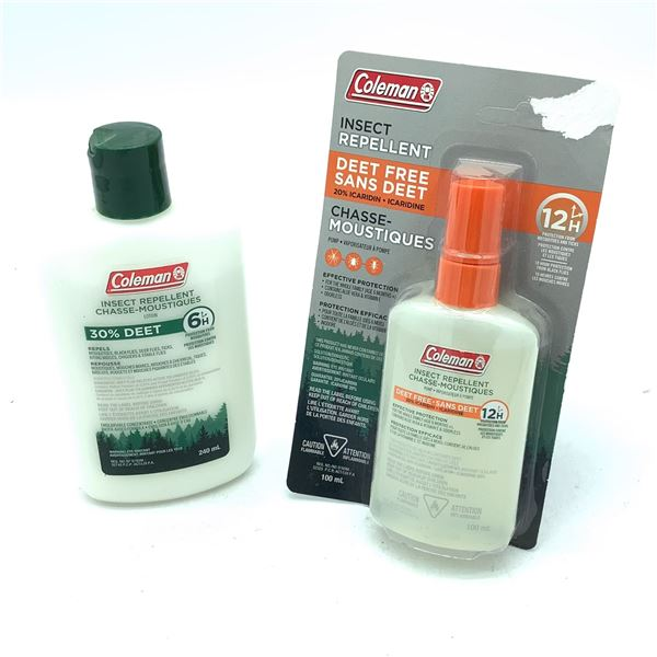Coleman Insect Repellent Deet Free, 100 mL and 30% Deet Lotion 240 mL