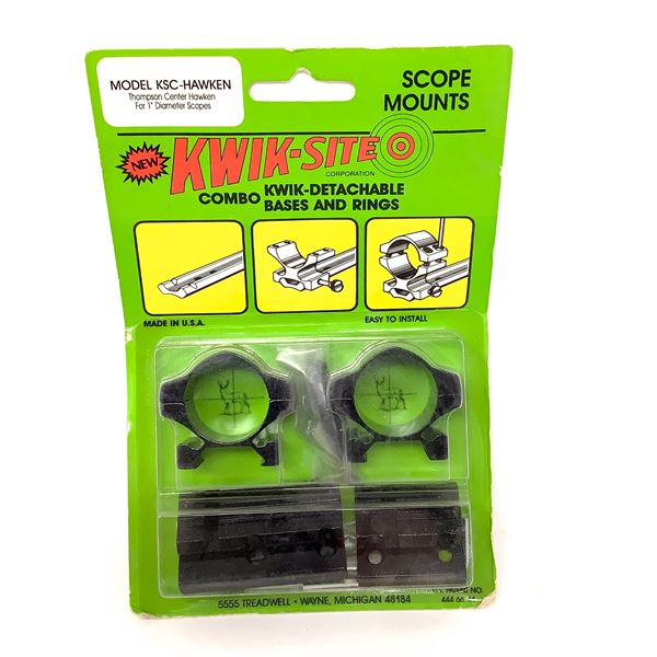 Kwik-Site Thompson Center Hawken Quick Detachable Bases and Rings Combo, New