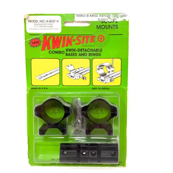 Kwik-Site Browning A-Bolt Quick Detachable Bases and Rings Combo, New