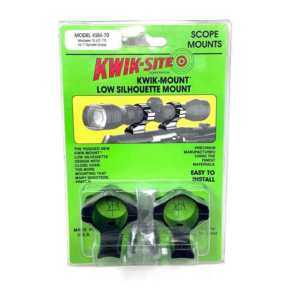 Kwik-Site Winchester 70, 670, 770 Low Silhouette Mount, New