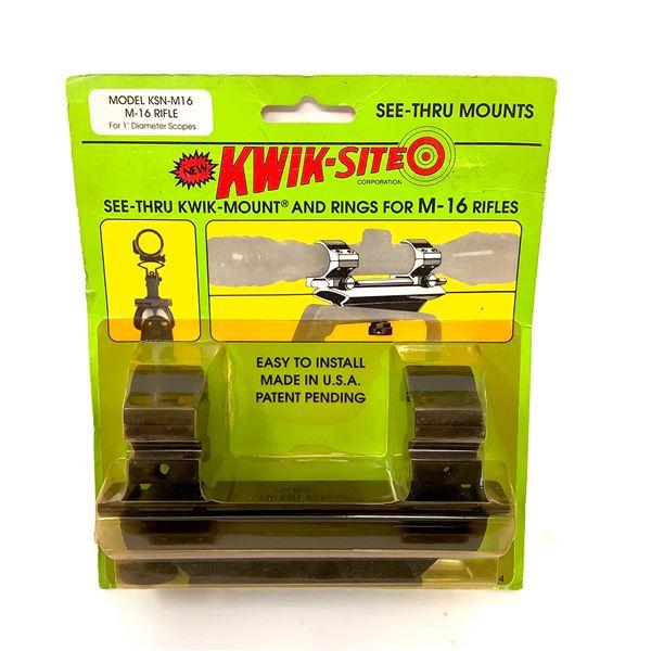 "Kwik-Site M-16 Rifle 1"" Rings, See-Thru Mounts, New"