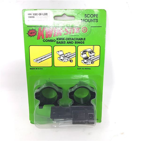 Kwik-Site Traditions In Line Quick Detachable Bases and Rings Combo, New