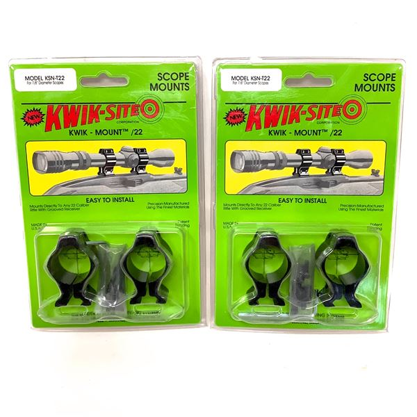 Kwik-Site T22 Mounts and Rings Combo for Grooved Receivers X 2, New