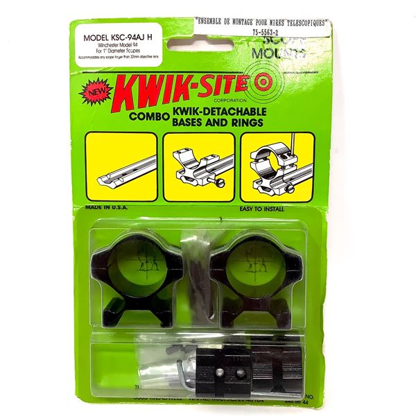 """Kwik-Site Winchester Model 94 1"""" Quick Detachable Bases and Rings Combo, New"""