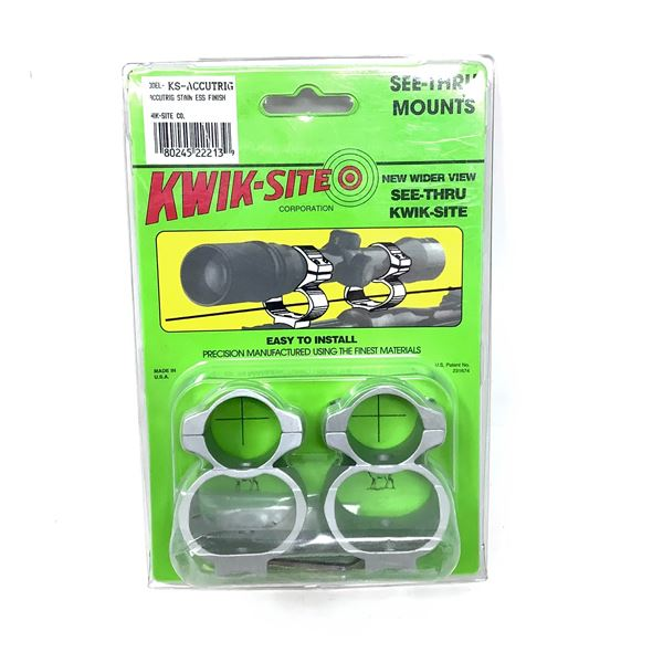 Kwik-Site Accutrig See Thru Mounts, Stainless Finish, New