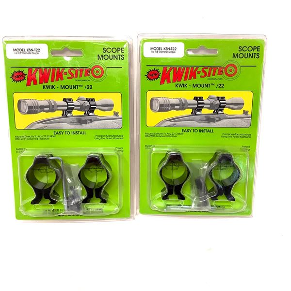 """Kwik-Site T22 for 7/8"""" Tubes Scope Mount for 22 Cal Grooved Receivers X 2, New"""