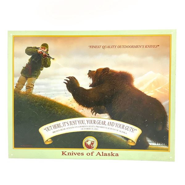 """Knives Of Alaska 'Gear and Gut's Tin Sign, 16"""" X 12"""", New"""
