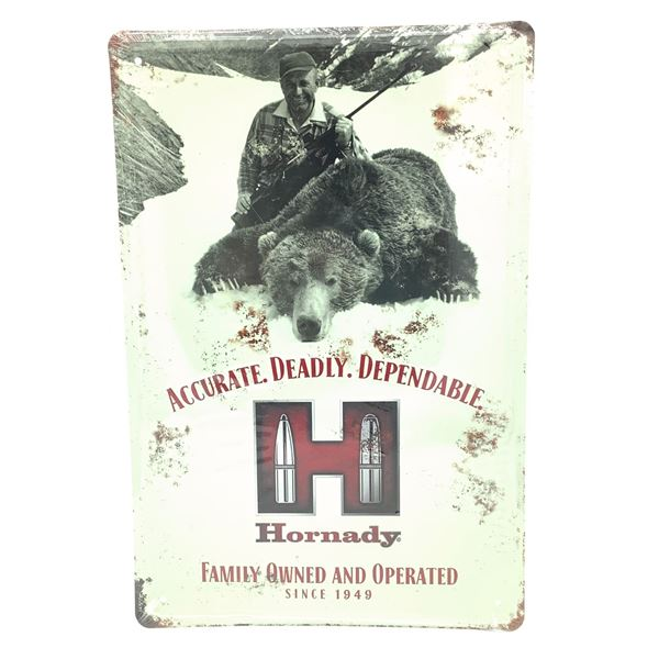 """Hornady 'Accurate' Tin Sign 18"""" X 12"""", New"""