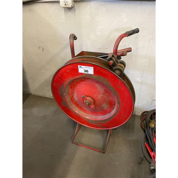 RED INDUSTRIAL STEEL BANDING CART WITH TOOLING