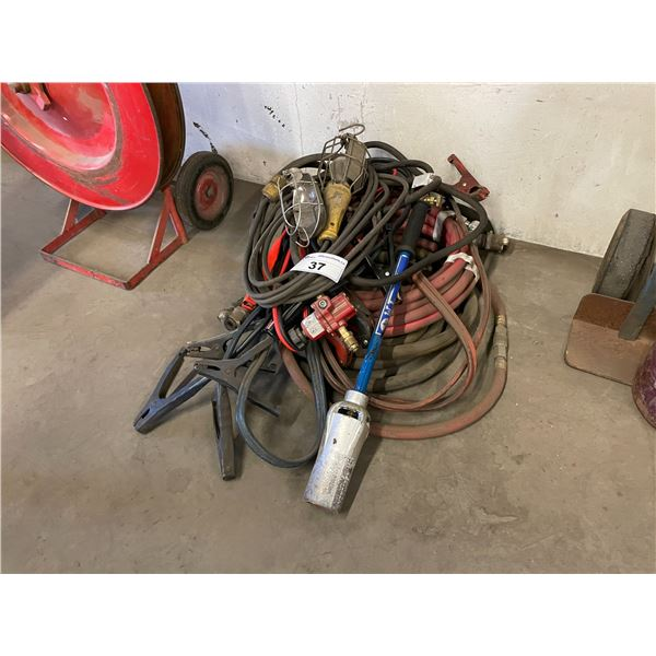 ASSORTED AIR HOSE, HYDRAULIC HOSE, JUMPER CABLES & TIGER TORCH