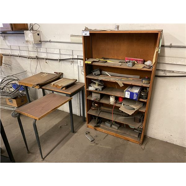 CONTENTS OF SHOP CORNER INCLUDING PAPER CUTTERS, SHELF, WOODEN 3 DRAWER WORK BENCH, METAL WORK