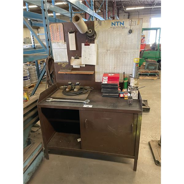 METAL 2 DOOR WORK TABLE 2'L X 4'W X 6'H WITH GRINDING WHEELS, MAGNETIC STAND & TOOLING