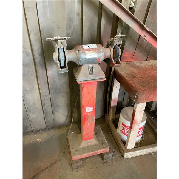 BALDOR 712RE HALF HORSEPOWER DUAL BENCH GRINDER ON STAND WITH WOODEN TABLE, WELDING SCREEN, SHELF &