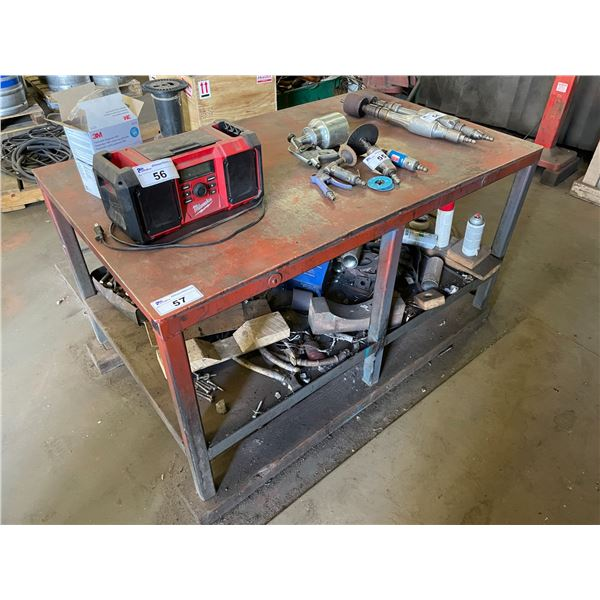 RED METAL 2 TIER INDUSTRIAL WORK BENCH 3'L X 5'W X 3'H WITH PARAMO NO.3 BENCH VICE