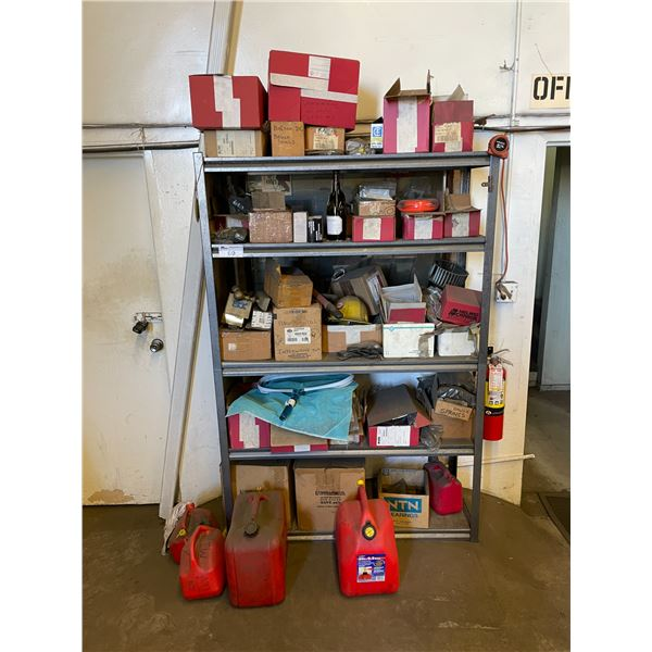 SHELF WITH ASSORTED CONTENTS & 4 JERRY CANS